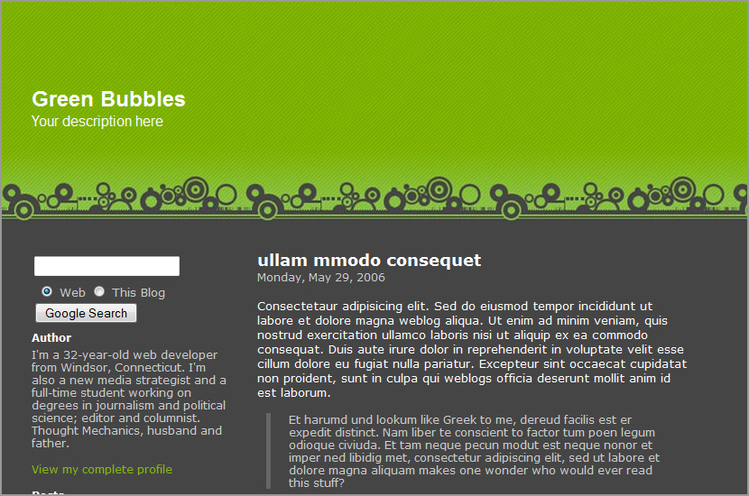 green bubbles template blogspot
