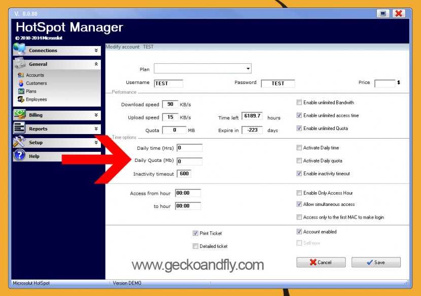 hotspot manager bandwidth quota traffic shaping