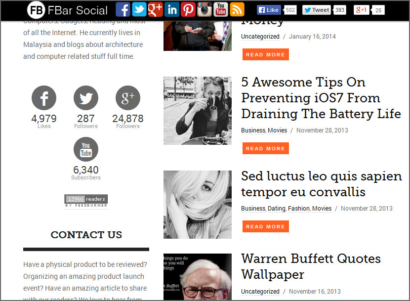 fbar social wordpress plugin