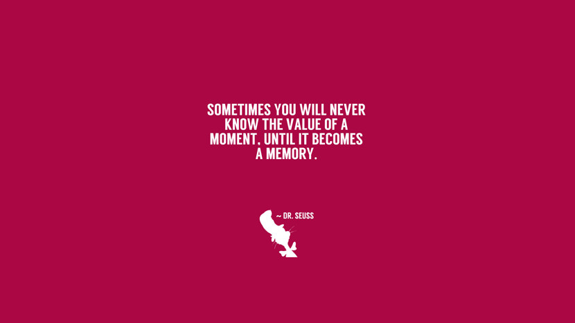 Sometimes you willl never know the value of a moment, until is becomes a memory.