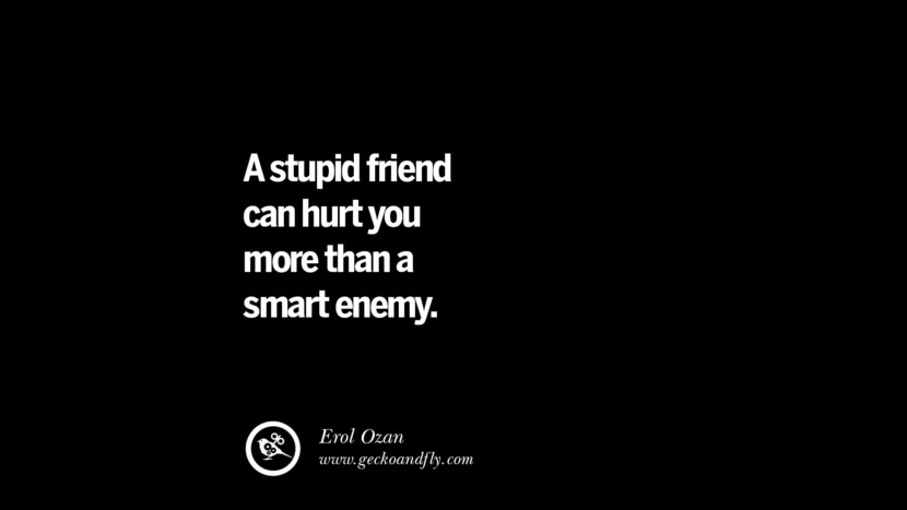 Quotes on Friendship, Trust and Love Betrayal A stupid friend can hurt you more than a smart enemy. - Erol Ozan instagram pinterest facebook twitter tumblr quotes life funny best inspirational