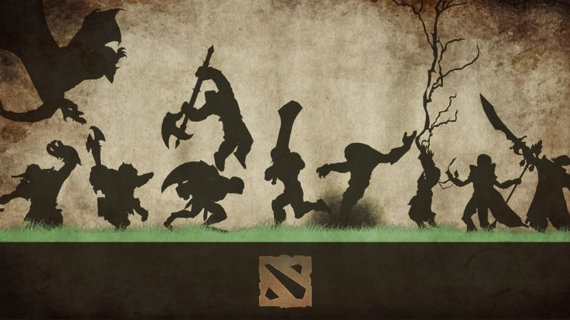 download dota 2 heroes minimalist silhouette HD wallpaper