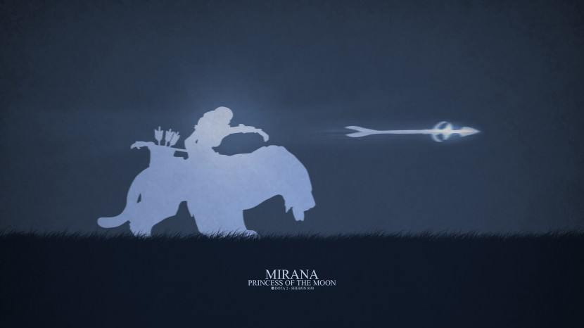 Mirana Princess of the Moon download dota 2 heroes minimalist silhouette HD wallpaper