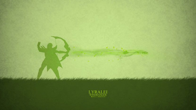 Windranger Lyralei download dota 2 heroes minimalist silhouette HD wallpaper