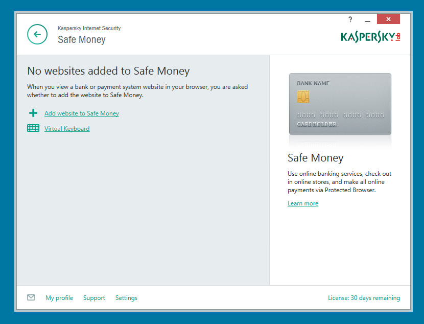 Kaspersky Internet Security The best security policy for preventing online credit card theft is to not store your data on any software. Having said that, it doesn't matter if it is from Symantec Norton or Kaspersky, never use Safe Money. It is better to be safe that sorry, as for the virtual keyboard, that is safe to use.