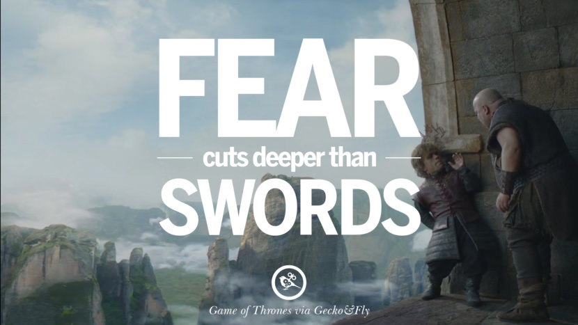 Fear cuts deeper than swords. Game of Thrones Quotes pinterest instagram facebook twitter HBO emilia clarke lannister jon snow season 4 king joffrey