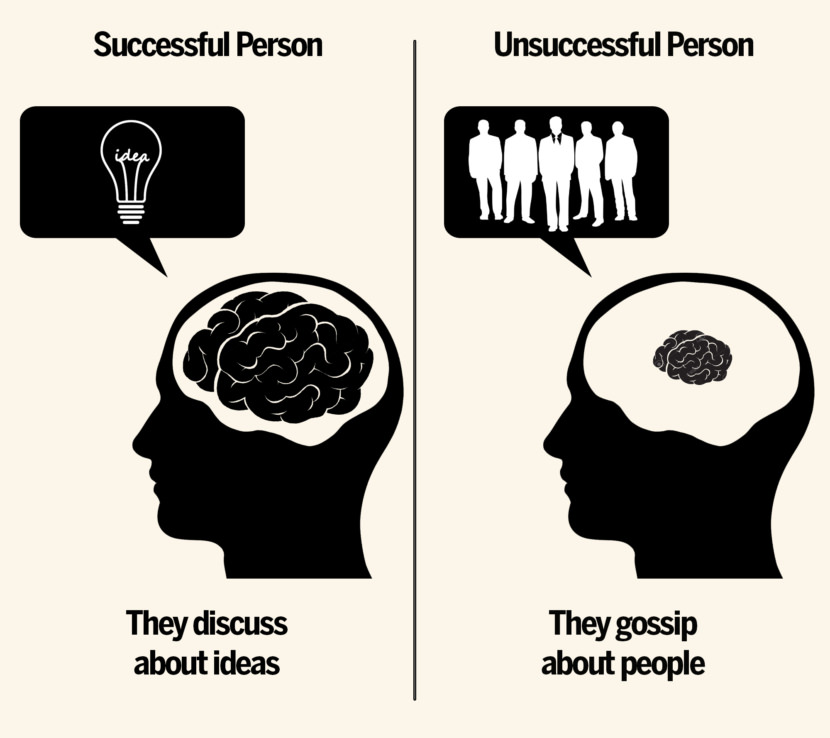 They discuss ideas vs they gossip about people.