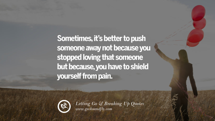 Sometimes, it's better to push someone away…not because you stopped loving that someone..But because, you have to shield yourself from pain. Quotes About Moving Forward From A Bad Relationship facebook instagram twitter tumblr pinterest best