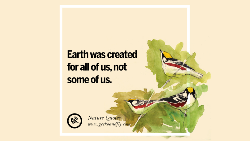 Earth was created for all of us, not some of us. Beautiful Quotes About Saving Mother Nature And Earth