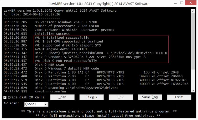 aswMBRVM Free Rootkit, Trojan Horse, Virus And Spyware Remover