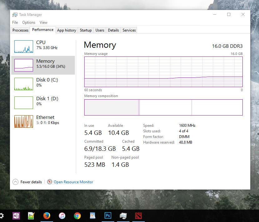 task manager memory RAMDisk vs SSD - Ten Times Faster Read and Write Speed