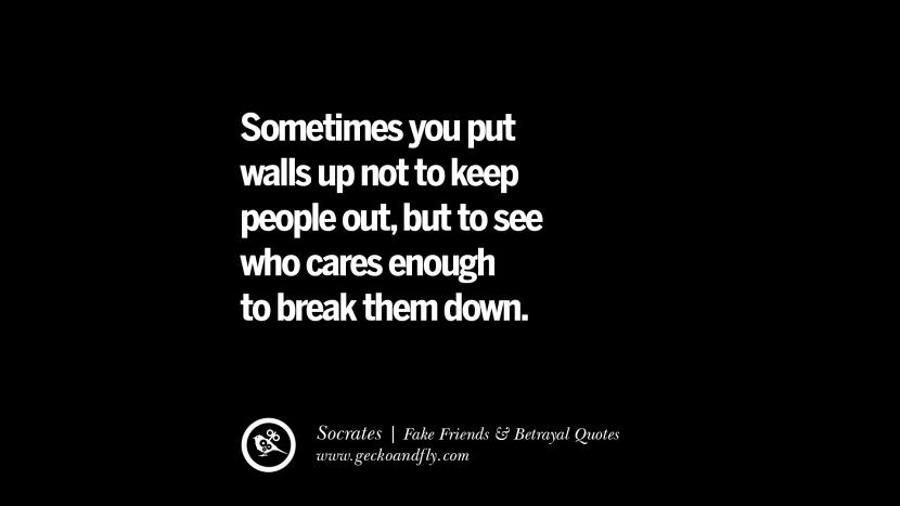 Sometimes you put walls up not to keep people out, but to see who cares enough to break them down. - Socrates Quotes On Fake Friends That Back Stabbed And Betrayed You Friendship Instagram Pinterest Facebook
