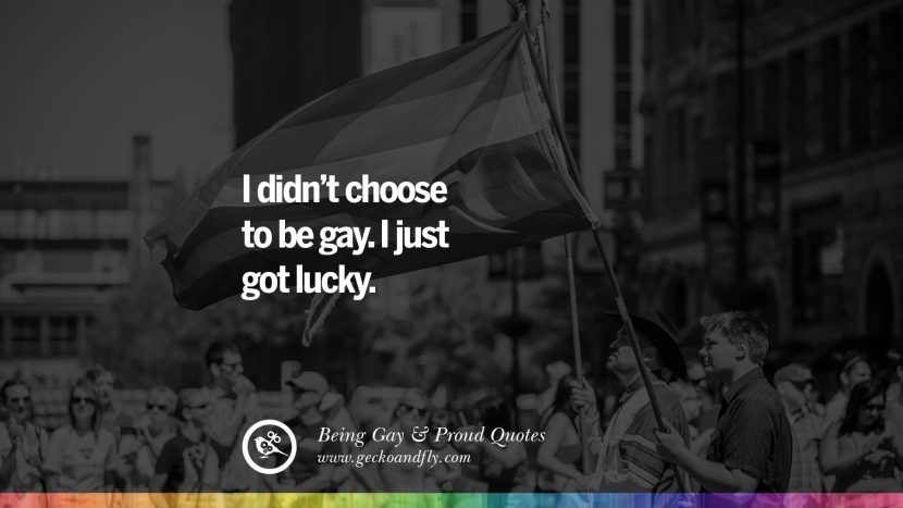 I didn't choose to be gay. I just got lucky. Quotes About Gay Pride, Pro LGBT, Homophobia and Marriage Discrimination Instagram Pinterest Facebook