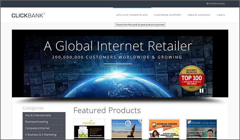 click bank Best Internet Affiliate Marketing Programs - Make Money Online