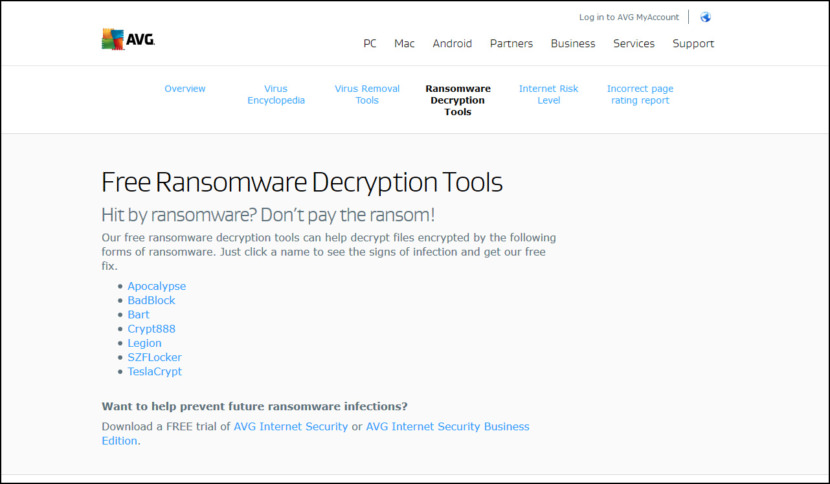 AVG Free Ransomware Decryption