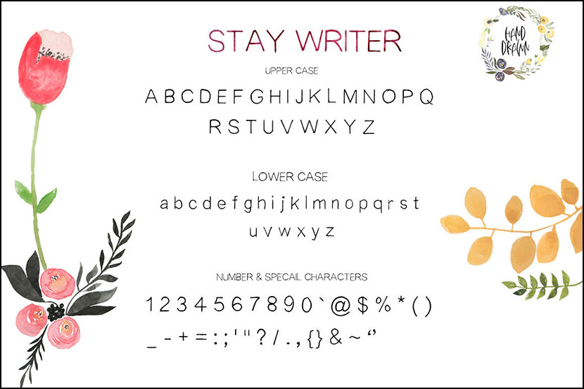 stay writer is hand drawn display font every single letters have been carefully crafted to make your text looks beautiful