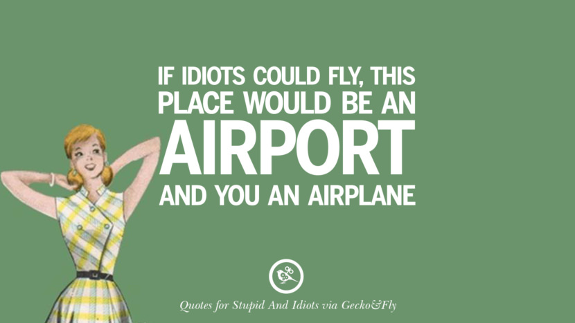 If idiots could fly, this place would be an airport and you an airplane. Sarcastic Sayings For Tagging Idiots And Stupid People In Facebook