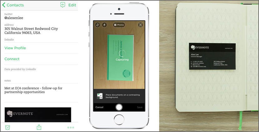 9 business card scanner and organizer apps for iphone and android evernote business card scanning reheart Choice Image