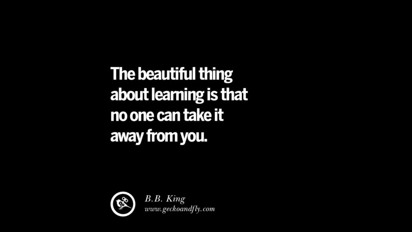 The beautiful thing about learning is that no one can take it away from you. - B.B. King