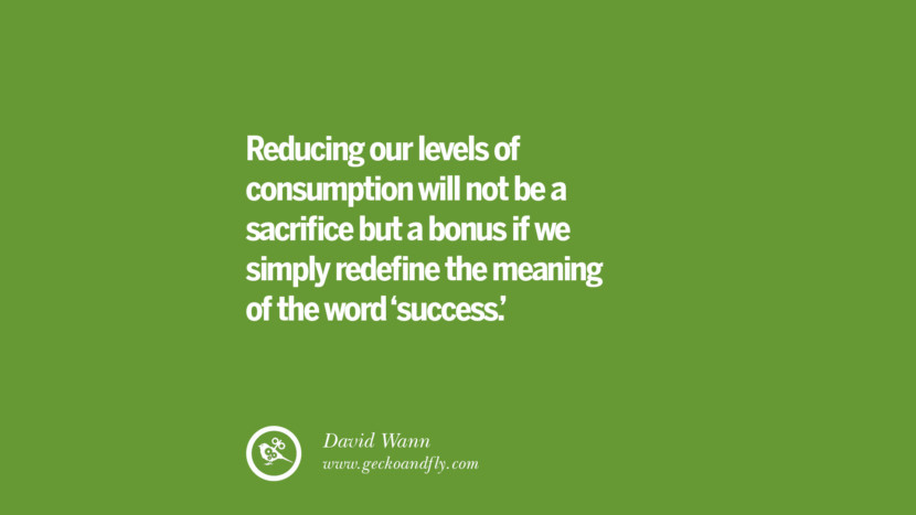 Reducing our levels of consumption will not be a sacrifice but a bonus if we simply redefine the meaning of the word 'success.' – David Wann