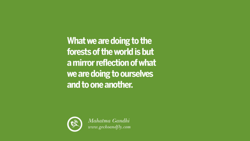 What we are doing to the forests of the world is but a mirror reflection of what we are doing to ourselves and to one another. – Mahatma Gandhi