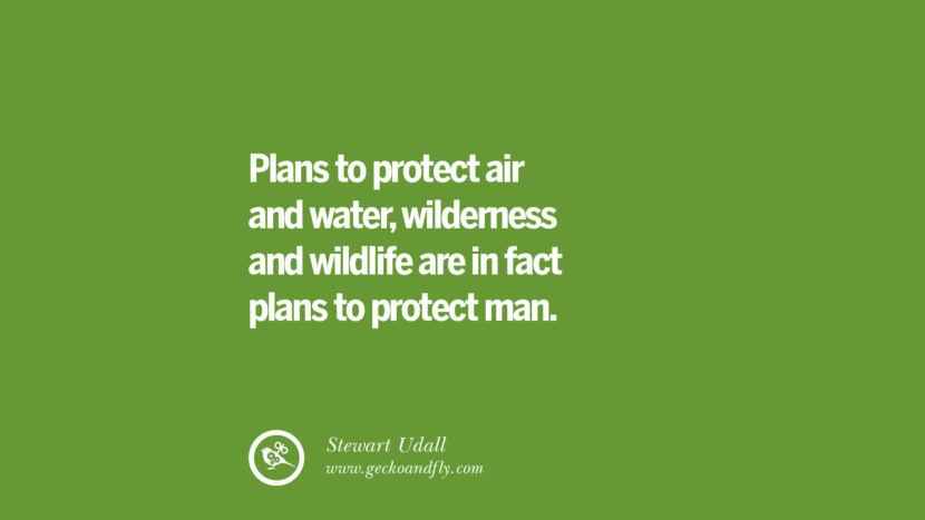 Plans to protect air and water, wilderness and wildlife are in fact plans to protect man. – Stewart Udall Sustainability Quotes On Recycling, Energy, Ecology, And Biodiversity