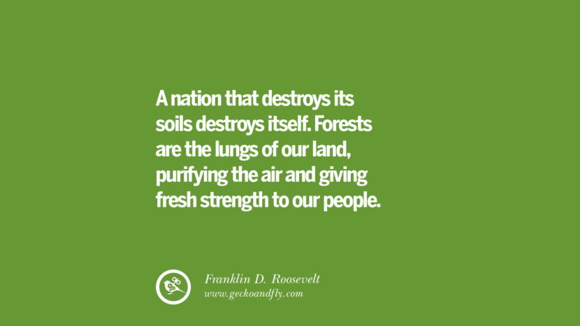 A nation that destroys its soils destroys itself. Forests are the lungs of our land, purifying the air and giving fresh strength to our people. – Franklin D. Roosevelt Sustainability Quotes On Recycling, Energy, Ecology, And Biodiversity