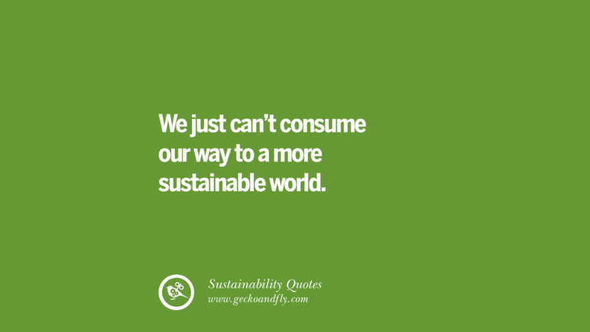 We just can't consume our way to a more sustainable world. Sustainability Quotes On Recycling, Energy, Ecology, And Biodiversity