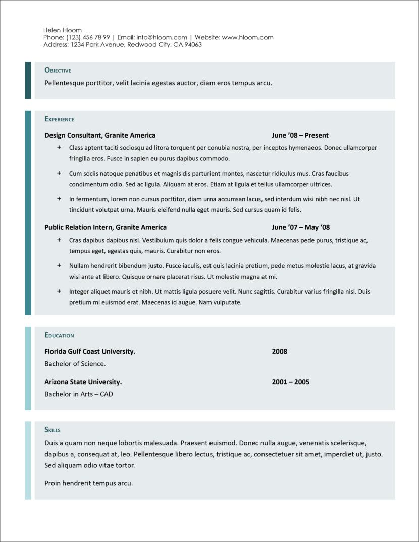 45 Free Modern Resume / CV Templates - Minimalist, Simple