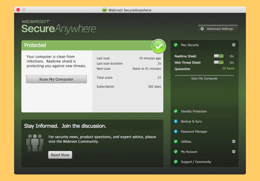 Webroot SecureAnywhere Antivirus for Mac