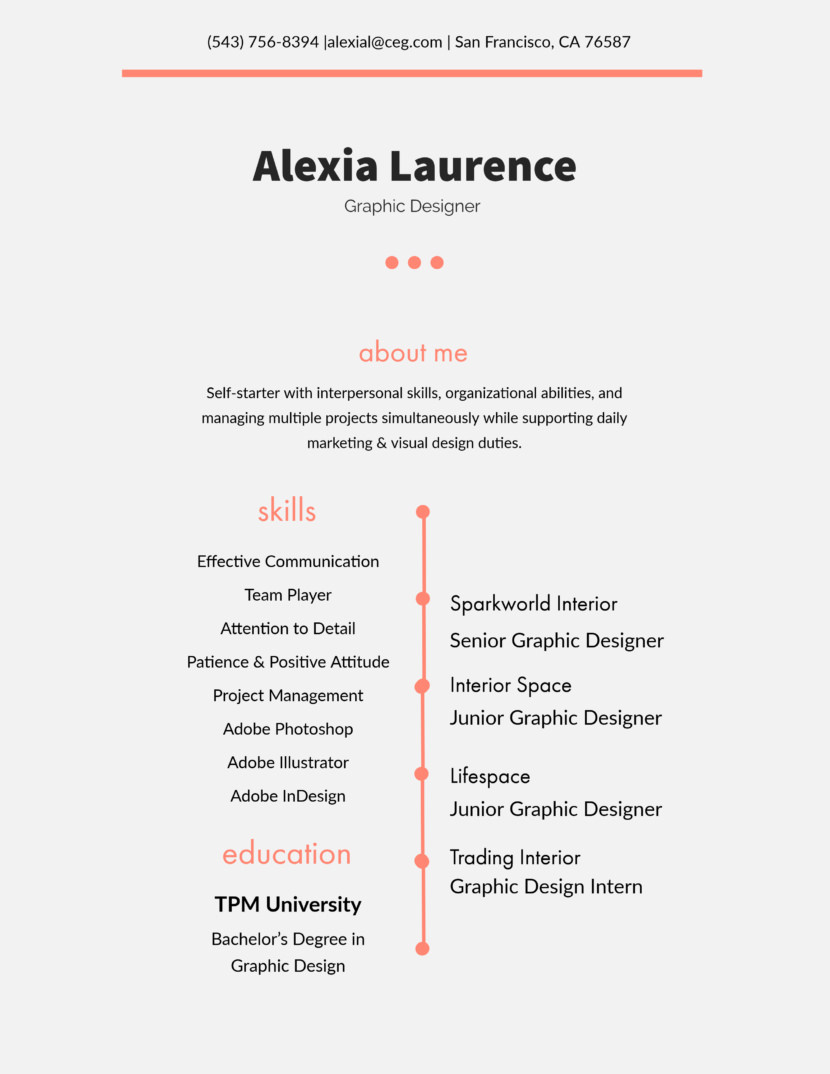Free Adobe Spark resume templates minimalist simple clean design