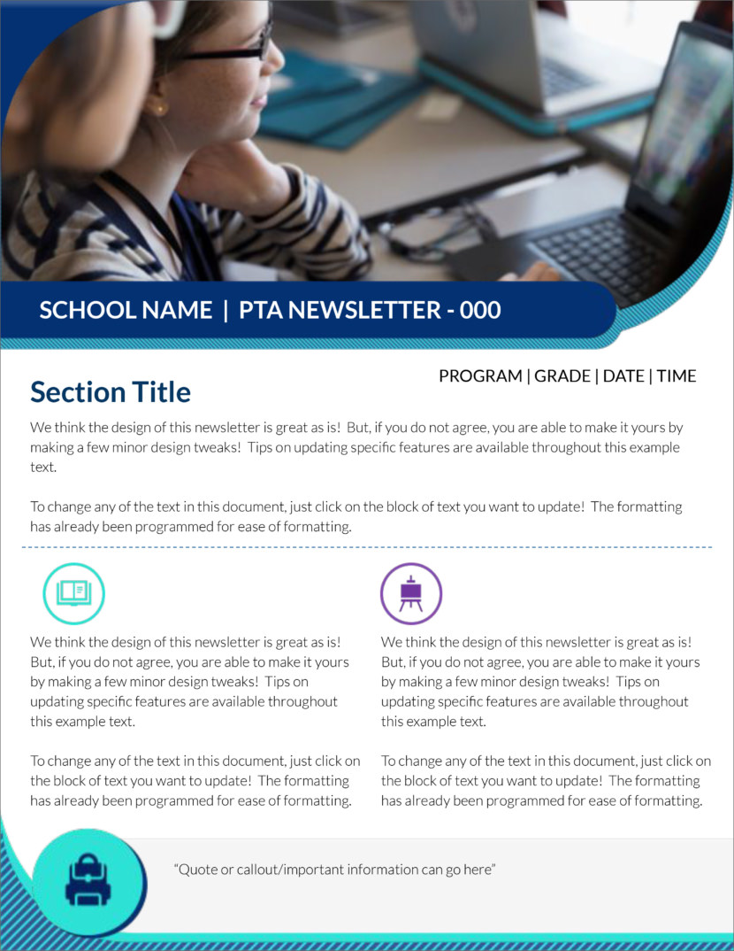 Screenshot of free printable newsletter template for school and communities
