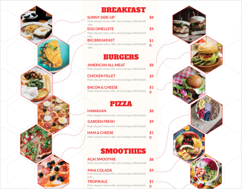 breakfast pizza drinks food Free Simple Menu Templates For Restaurants