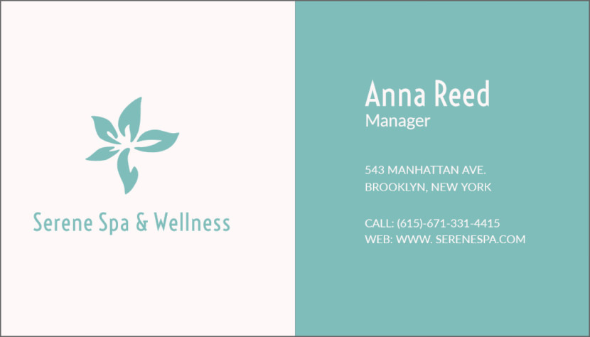 Screenshot of blank Spa and Wellness Business Card Template