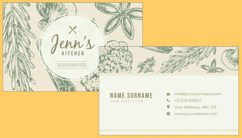 Screenshot of blank Kitchen Food Business Card Template