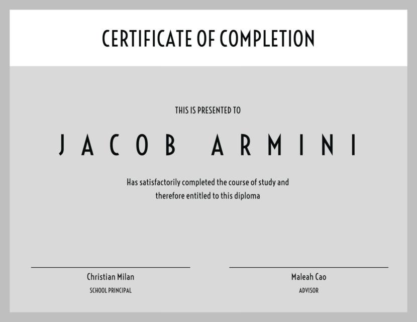 Screenshot of blank diploma certificate template