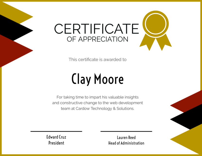 certification of appreciation Blank Certificate Templates