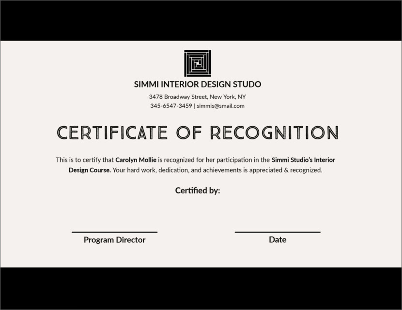 certificate of recognition Blank Certificate Templates
