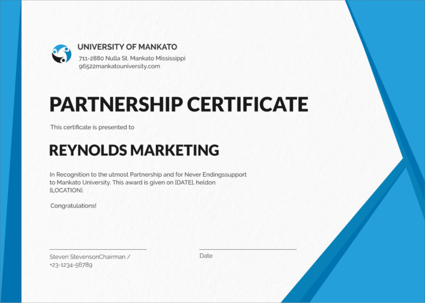 partnership marketing Blank Certificate Templates