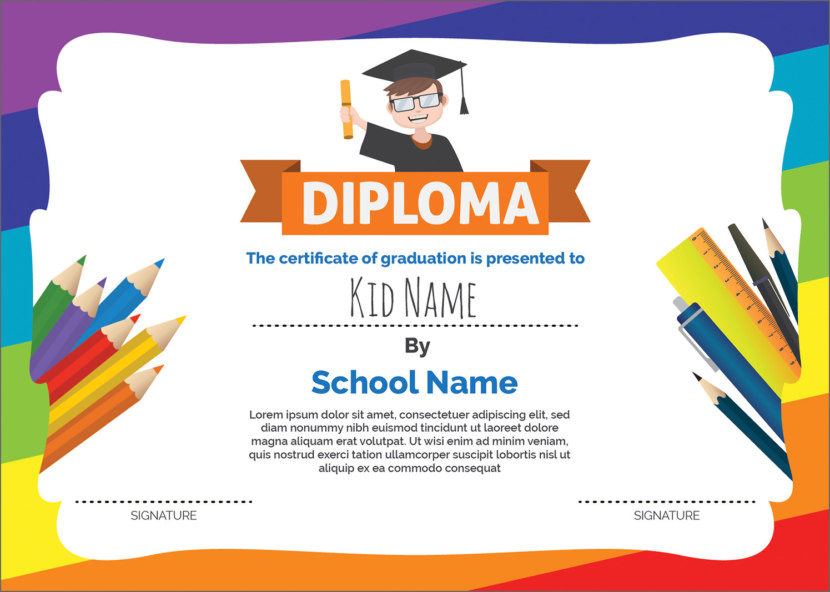 Colourful Children Blank Certificate Templates