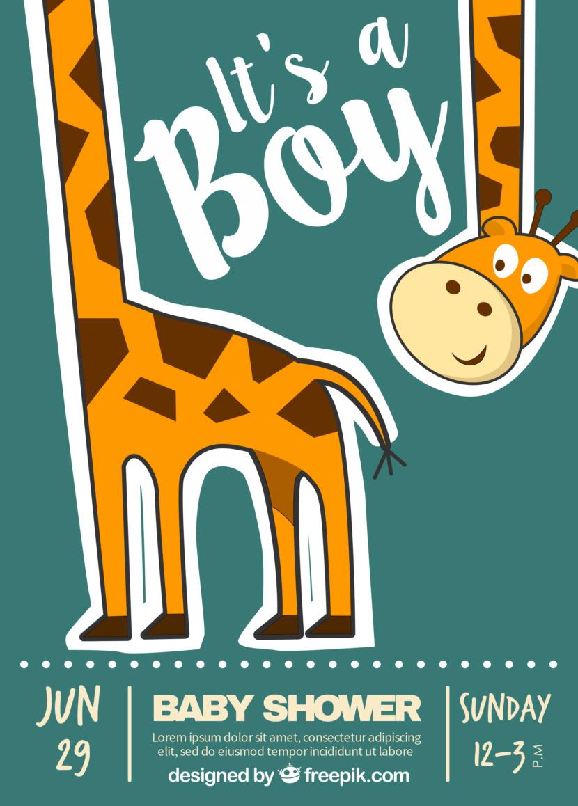 Fantastic Baby Shower Invitation With Happy Giraffe