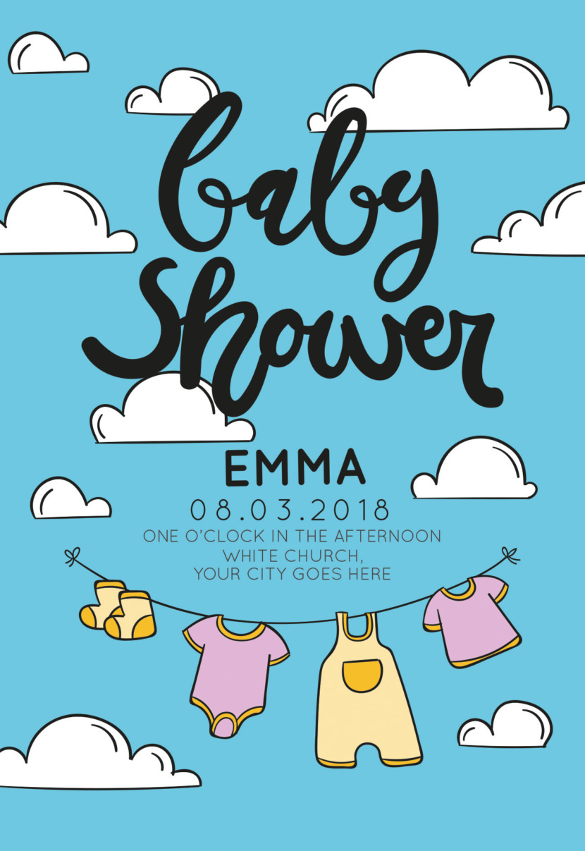 Baby Shower Invitation With Clothes