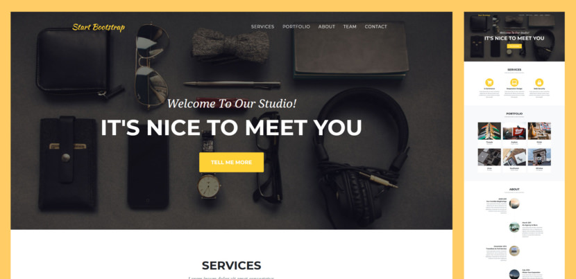 Agency is a stylish, one page Bootstrap theme for agencies and small businesses. The design of Agency is based off of the Golden PSD Theme by Mathavan Jaya. You can download the PSD verison of this theme at FreebiesXpress.