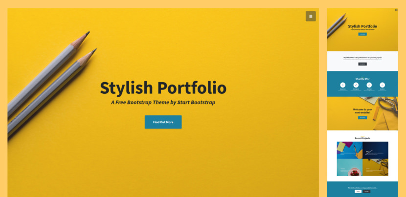 Stylish Portfolio is a one page Bootstrap portfolio theme with off canvas navigation and smooth scrolling through content sections.