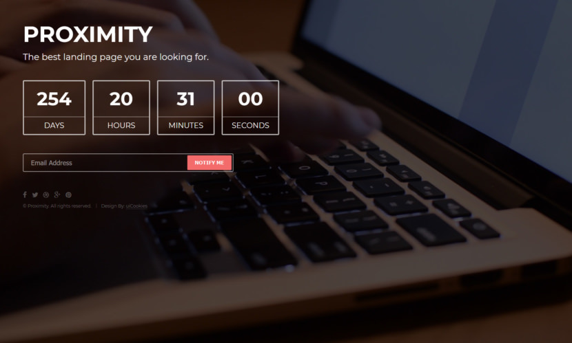 Proximity is the best under construction website template built with Bootstrap 3 frontend framework, HTML5, CSS3 and other modern technologies. The coming soon landing page template is clean, beautiful, captivating, mind-blowing, excellent, minimal and aesthetically simple creation of uiCookies.