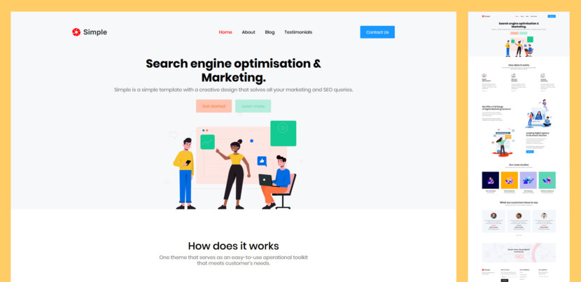 Simple Landing Page is a one-page landing page designed for one job alone… impress you! Featuring an attractive clean design, Marshmallow is ideal one page website for promoting your new start-up. Wotcha waiting for? Download for free and go crazy!