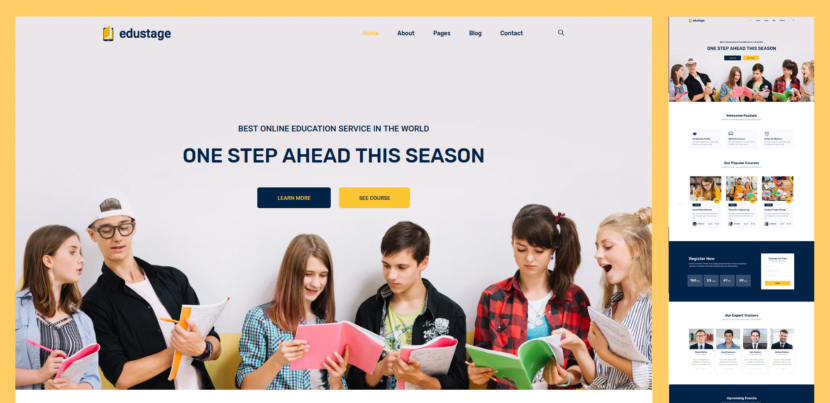Edustage – hence the name – is a free educational website design template that will take your online services to new heights. Whether you are building a website for a school, university or online courses, Edustage is here to get you sorted out with a neath, modern and responsive web design.