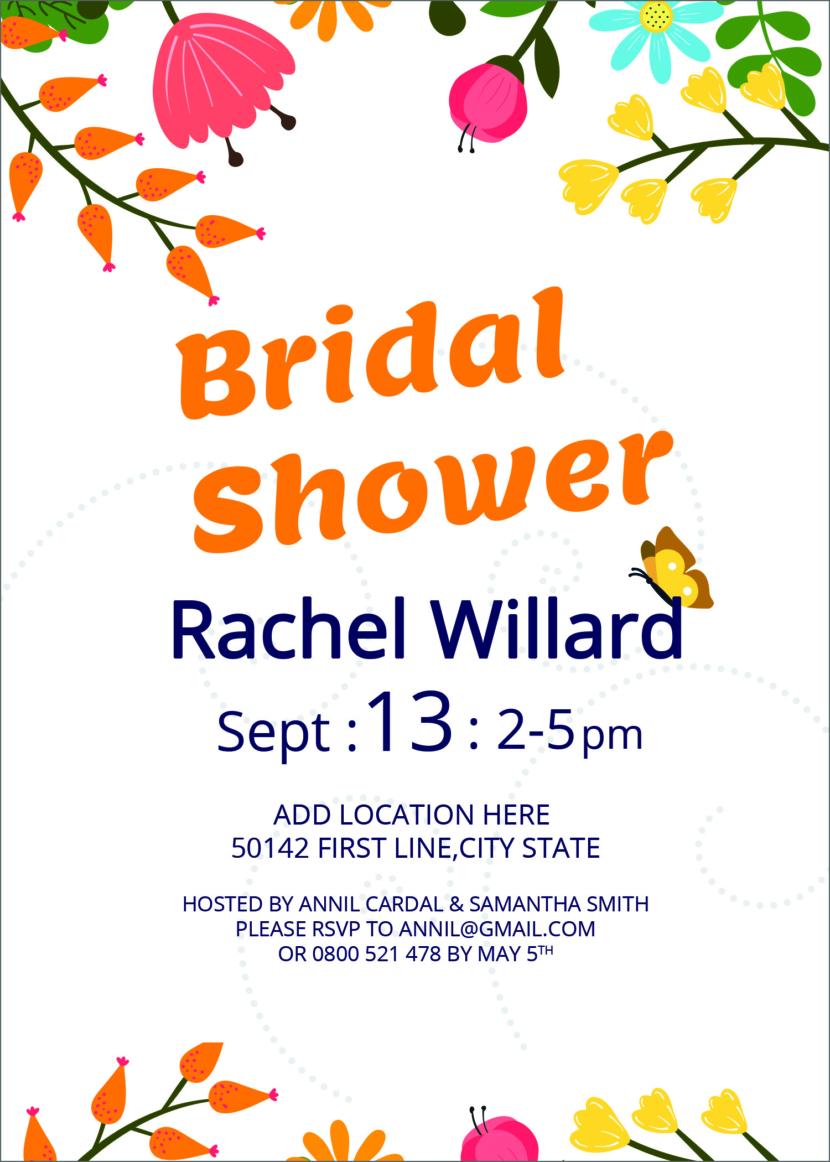Free Bridal Shower Invitation Template Printable And Editable PSD